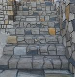 Como las escaleras reales Kazarma Messinias de las piedras Imagen de archivo libre de regalías