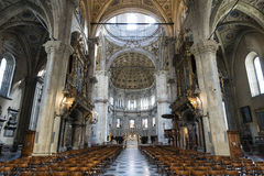Como (Lombardy, Italy) cathedral interior. Como (Lombardy, Italy): interior of the medieval cathedral, built from 1396 to 1770 Royalty Free Stock Photos