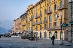 COMO, LOMBARDY/ITALY - LUTY 21: Główny plac w Como na Febr Obraz Royalty Free