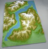 Como, mapa Jeziorny Como, mapa rysująca z ulgami i górami Zdjęcia Royalty Free