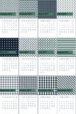 Como and midnight colored geometric patterns calendar 2016 Stock Photography