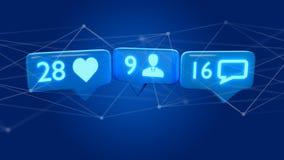 Como, notificação do seguidor e da mensagem na rede social - 3d r Imagem de Stock Royalty Free