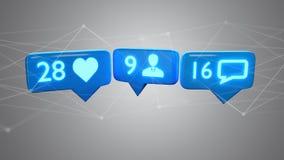 Como, notificación del seguidor y del mensaje en la red social - 3d r stock de ilustración
