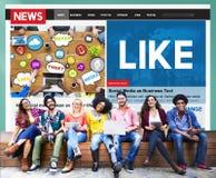 Como o conceito social do feed noticioso dos meios da parte imagem de stock