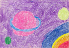 Como o desenho de lápis do ` s das crianças que descreve planetas, asteroides e universo Fotografia de Stock Royalty Free