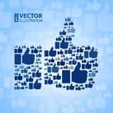 Como o símbolo na luz - fundo azul Fotos de Stock
