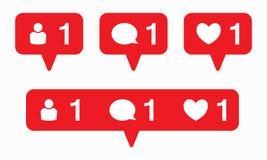 Como o vetor do ícone Vetor do ícone do comentário Vetor do ícone do seguidor Ícones sociais da notificação dos meios ilustração stock