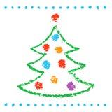 Como os childs que tiram a árvore de Natal no branco Estilo artístico bonito do curso da garatuja simples engraçada ilustração royalty free