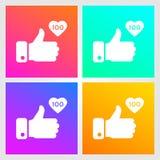 Como, os polegares acima dos ícones ajustaram-se no fundo do inclinação O ícone gosta de 100 Símbolo social da rede Elemento soci ilustração do vetor