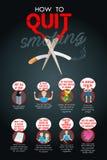 Como parar fumar Infographic Imagens de Stock