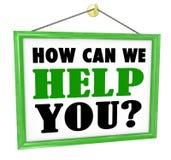 Como possa nós ajudamo-lo sinal de suspensão da loja útil prestar serviços de manutenção ilustração do vetor