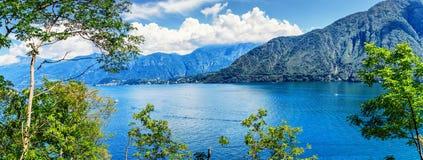 Como Seepanorama, Lombardei, Italien stockbild