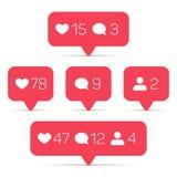 Como, seguidor, iconos del vector del comentario fijados ilustración del vector