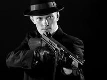 Como un gángster de Chicago en blanco y negro Imagen de archivo libre de regalías