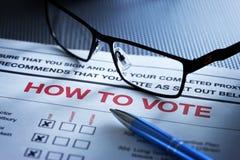 Como votar o formulário Fotos de Stock