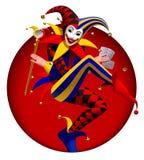 Comodín con los naipes y espejo en marco redondo rojo oscuro libre illustration