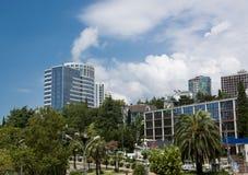 Comodidad meridional del resto del verano de la palmera de la ciudad fotografía de archivo