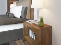 Comodino di legno con un posto adatto per la decorazione Immagini Stock