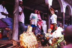 Comores:在回教共和国Mohéli海岛上的市场的 免版税库存图片