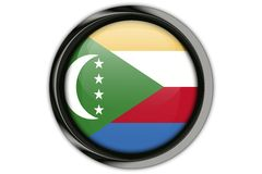 Comoros flag in the button pin Isolated on White Background Stock Images