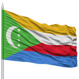 Comoros Flag on Flagpole Stock Images