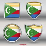 Comoros Flag in 4 shapes collection with clipping path stock image