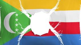 Comoros flagga med ett hål royaltyfri illustrationer