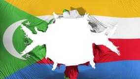 Comoros flagga med ett stort hål stock illustrationer
