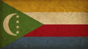 Comoros grungeflagga stock illustrationer