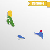 Comoros map with flag inside and ribbon Royalty Free Stock Photos