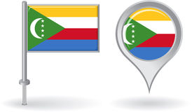 Comoros pin icon and map pointer flag. Vector Stock Photos