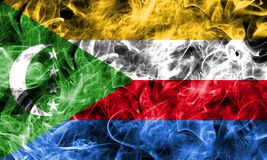 Comoros smoke flag isolated on a black background.  Royalty Free Stock Photography