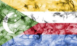 Comoros smoke flag isolated on a white background. Comoros smoke flag isolated on a white background Royalty Free Stock Image