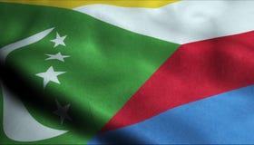 Comoros som vinkar flaggan i 3D royaltyfri illustrationer