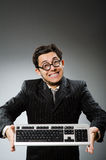 Comouter geek with computer Stock Photography