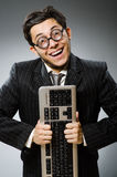 Comouter geek with computer Stock Photo
