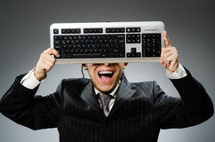 Comouter geek with computer Royalty Free Stock Photography