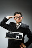 Comouter geek with computer Royalty Free Stock Photo