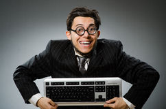 Comouter geek with computer Stock Images