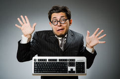 Comouter geek with computer Royalty Free Stock Photos