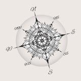 Compás color de rosa del viento gráfico dibujado con los elementos florales libre illustration