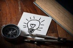 Compás con el papel de la idea Foto de archivo libre de regalías
