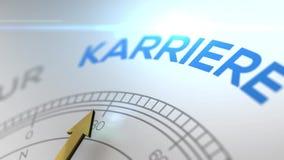 Compás con el texto - palabra del alemán de KARRIERE- para la trayectoria derecha de la CARRERA, vídeo del concepto para brillant metrajes