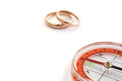 Compás con los anillos Imagenes de archivo
