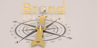 Compás con marca del oro aislado en el illustra blanco del fondo 3D stock de ilustración