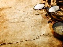 Compás, cuerda y vidrios Imagen de archivo libre de regalías