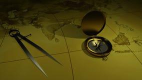 Compás de cobre amarillo en un fondo del mapa del mundo representación 3d ilustración del vector