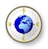 Compás del dinero en circulación con el globo Foto de archivo libre de regalías