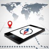 Compás en el smartphone Imágenes de archivo libres de regalías