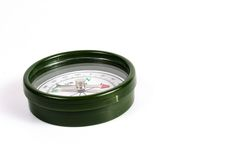 Compás magnético verde Fotos de archivo libres de regalías